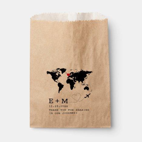 World Map Airplane Heart Typewriter Travel Theme Favor Bag