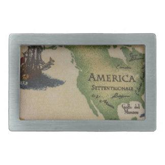 World Map - America Belt Buckle