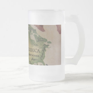 World Map - America Frosted Glass Beer Mug