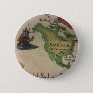 World Map - America Pinback Button