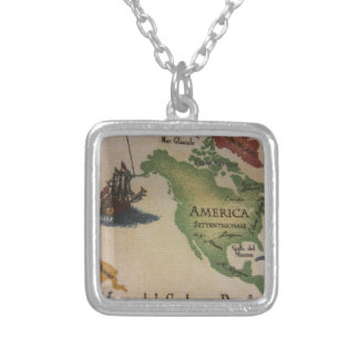 World Map - America Silver Plated Necklace