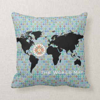 world map, anchors and compass-rose throw pillow
