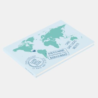 World Map and Custom Stamps Destination Wedding Guest Book