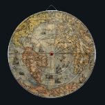 "World Map Antique 1500 art print artwork Dartboard<br><div class=""desc"">Originally from the mid-1500s,  this map shows the world that was known in that era. Artwork mapmaker print illustration.</div>"
