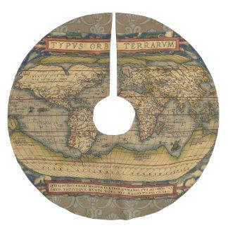 World Map Antique Ortelius Europe Brushed Polyester Tree Skirt