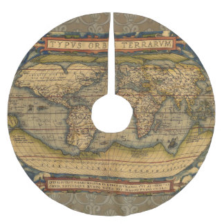 World Map Antique Ortelius Europe Brushed Polyester Tree Skirt