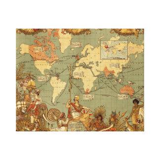 World map Antique Vintage 1886 Canvas Print