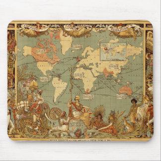 World map Antique Vintage 1886 Mouse Pad