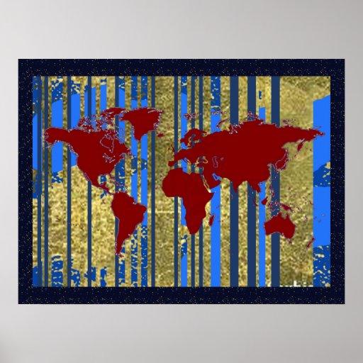 world map art decor poster