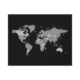 World Map Atlas Canvas in Black and Grey Shades