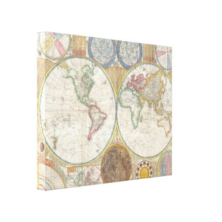 World Map Atlas Image Stretched Canvas Print