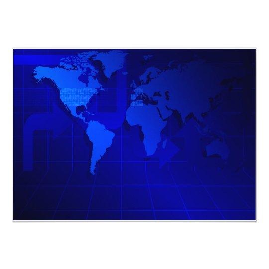 World Map Background Card