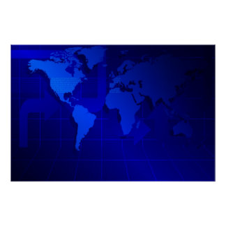World Map Background Poster