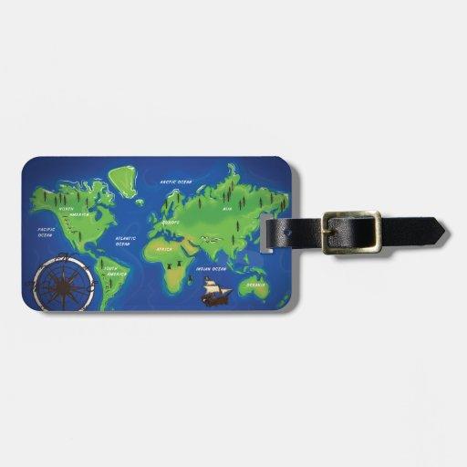 World Map Bag Tag