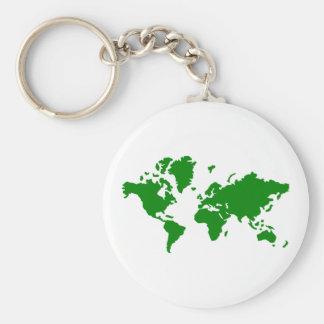 World map basic round button keychain
