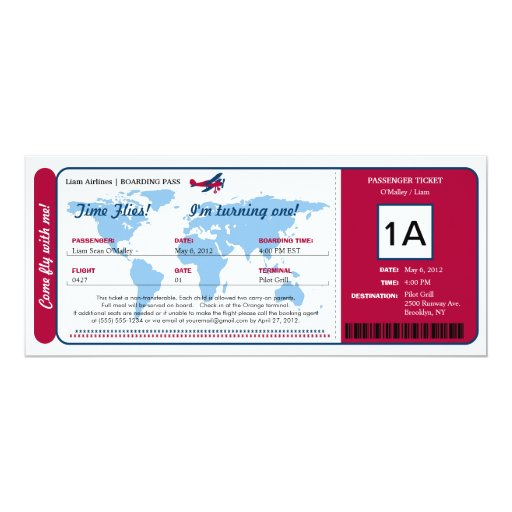 World Map Birthday Boarding Pass Ticket 4x9.25 Paper Invitation Card