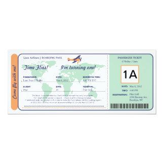 World Map Birthday Boarding Pass Ticket Custom Invite