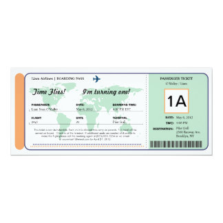 World Map Birthday Boarding Pass Ticket Personalized Announcement