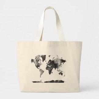 WORLD MAP BLACK and WHITE Jumbo Tote Bag
