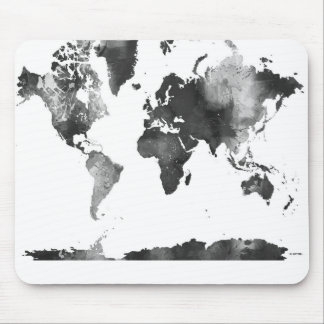 WORLD MAP BLACK and WHITE Mouse Pad