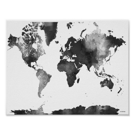 world map black and white poster zazzle. Black Bedroom Furniture Sets. Home Design Ideas