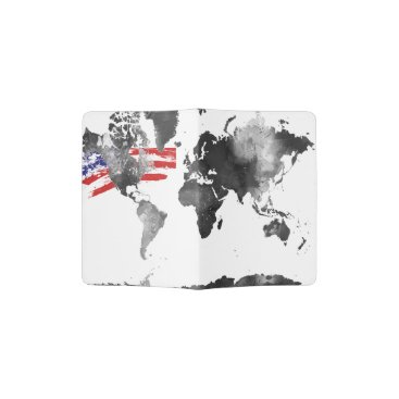 USA Themed WORLD MAP BLACK and WHITE with USA flag Passport Holder
