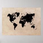 world map black poster
