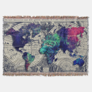 World Map Throw Blankets Zazzle - World map blanket