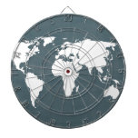 World Map . blue and white Dart Board