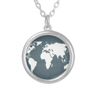 World Map . blue and white Silver Plated Necklace