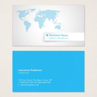 World Map Blue Technology Global Business Business Card
