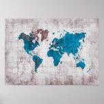 world map blue white poster