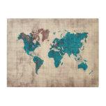 world map blue white wood wall art