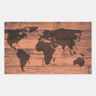World Map Brand Rectangular Sticker