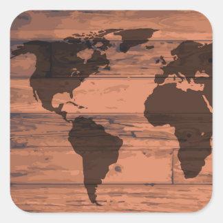 World Map Brand Square Sticker