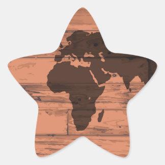 World Map Brand Star Sticker