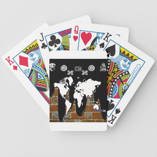 WORLD MAP BRICK BACKGROUND PRODUCTS BICYCLE PLAYING CARDS