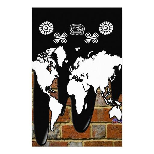 WORLD MAP BRICK BACKGROUND PRODUCTS STATIONERY DESIGN