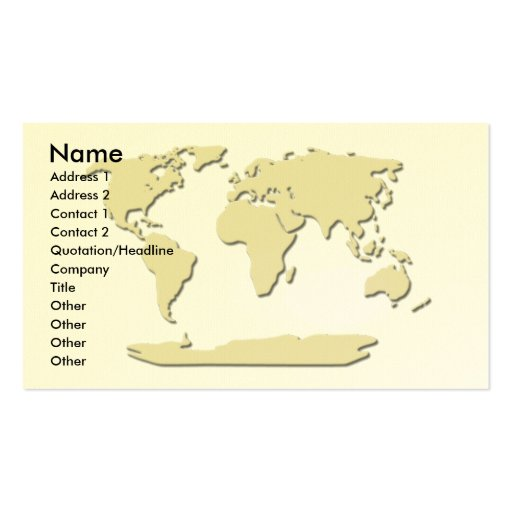 World Map Business Card  Eggshell