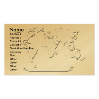World Map Business Card Gold
