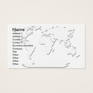 World Map Business Card White