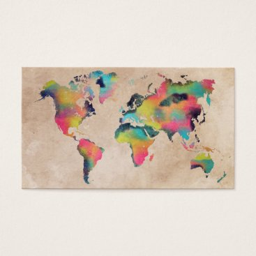 Professional Business world map Business Cards