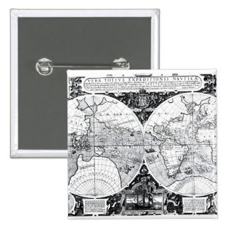 World map 2 inch square button