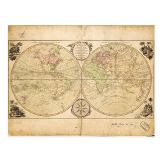 World Map by Carington Bowles (1791) Postcard