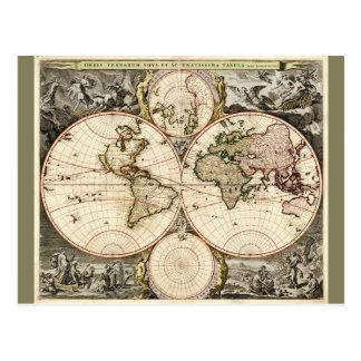World Map by Nicolao Visscher circa 1690 Postcard