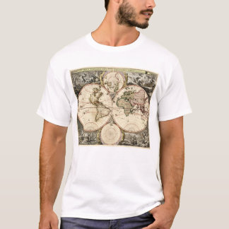 World Map by Nicolao Visscher circa 1690 T-Shirt
