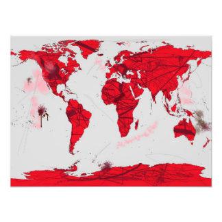 World Map Calligraphy - Art Print Photo Art