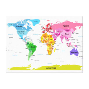 Childrens world map wrapped canvas prints zazzle world map canvas print gumiabroncs Image collections