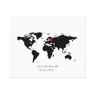 world map canvas wedding guestbook guest choose