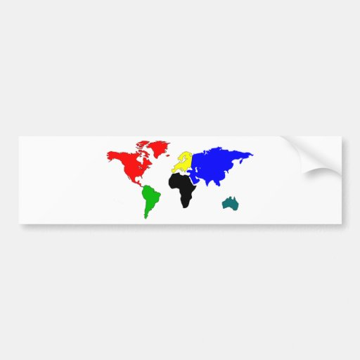 World map car bumper sticker